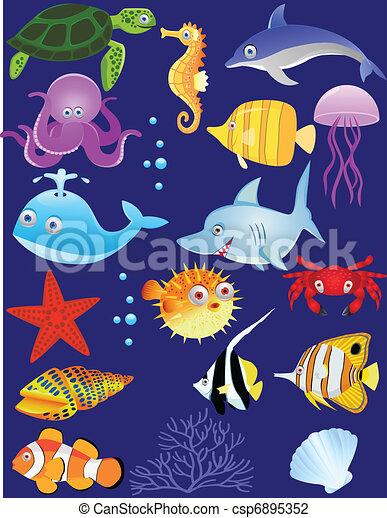 Sea life cartoon - csp6895352