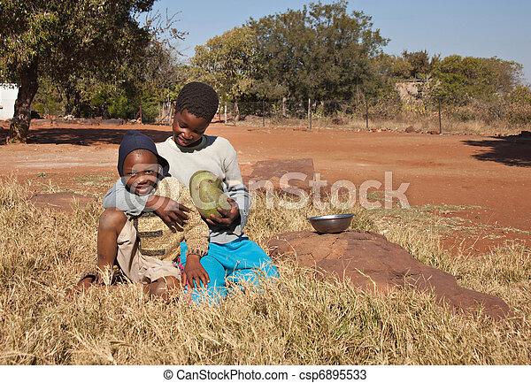 Poor African children - csp6895533