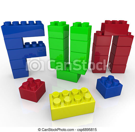 Fun Word Built with Toy Building Blocks - csp6895815