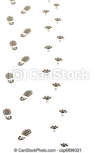 foot prints of man and dog - csp6896321