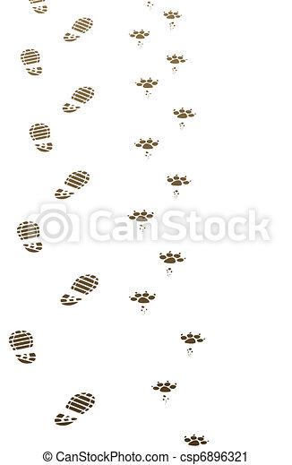 foot prints of man and dog - csp6896321