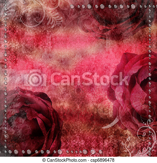 romantic vintage background with  dry rose and drops - csp6896478