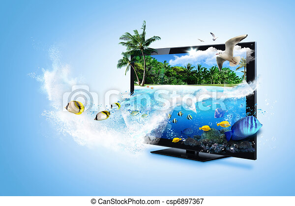 3D, tv, -, sentir, natureza - csp6897367