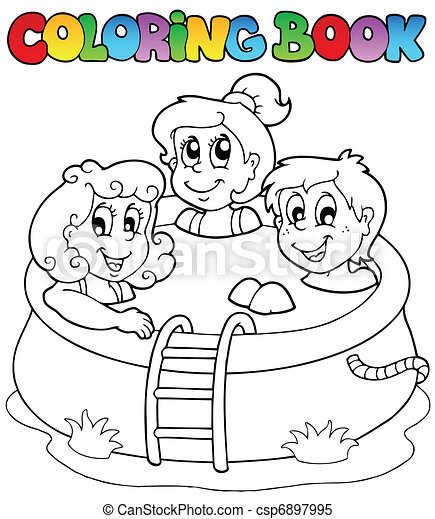 Coloring book with kids in pool - csp6897995