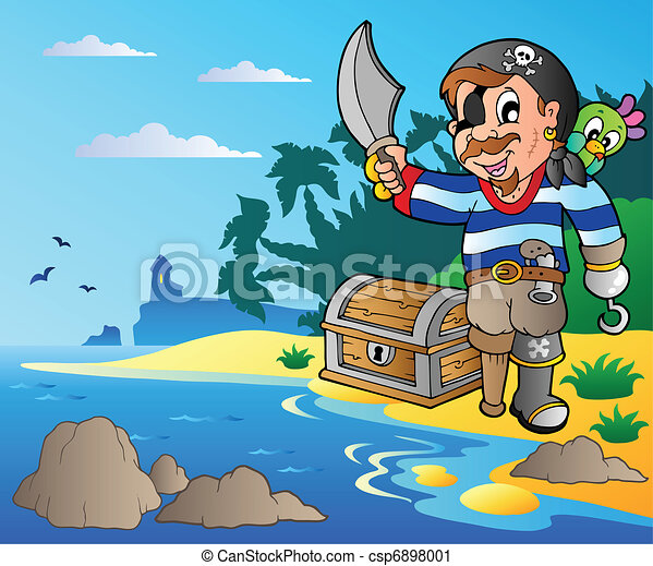 Coast with young cartoon pirate 2 - csp6898001