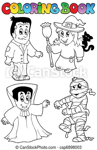 Coloring book Halloween topic 4 - csp6898003