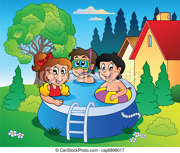 Garden with pool and cartoon kids - csp6898017
