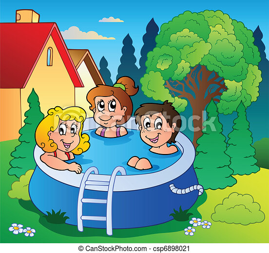 Vector clip art of garden with three kids in pool vector for Caillou francais piscine