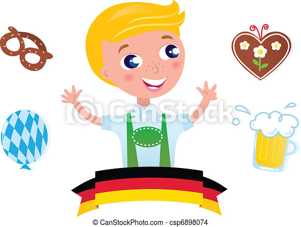 Blond boy with traditional Octoberfest symbols. Vector Illustration.