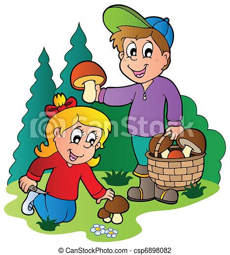 Kids picking up mushrooms - csp6898082