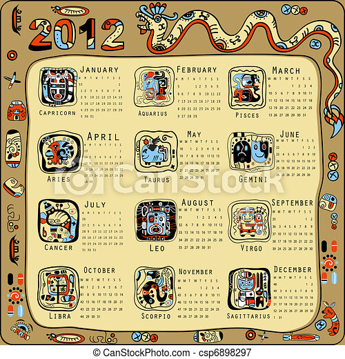 Calendar in Indian Maya style - csp6898297