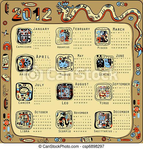 Calendar in Indian Maya style - csp6898297