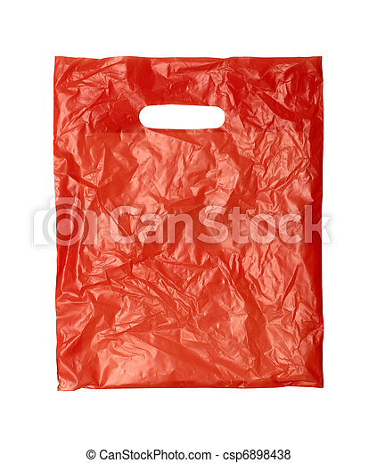 close up of a orange plastic bag on white background with - csp6898438