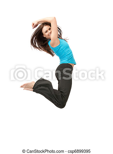 jumping sporty girl - csp6899395