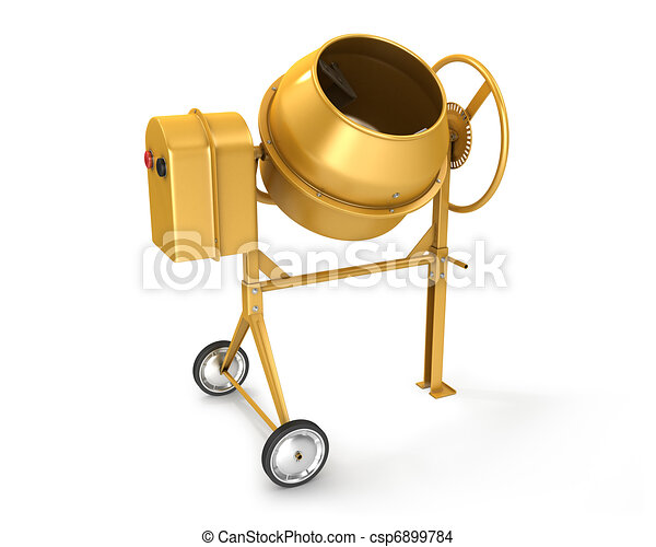 Clean new yellow concrete mixer - csp6899784