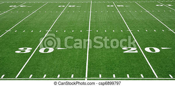 Twenty and Thirty Yard Line on American Football Field - csp6899797