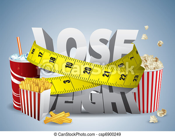Lose weight text with measure tape and junk food - csp6900249
