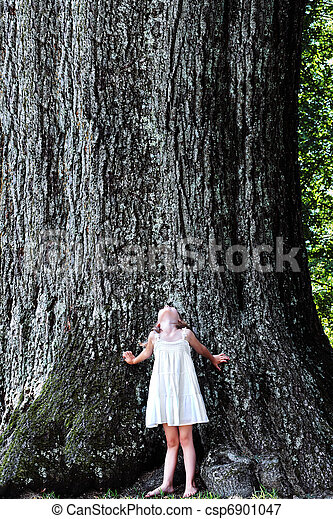 Child Standing Under a Large Tree - csp6901047