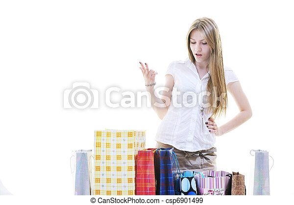 happy young adult women  shopping with colored bags - csp6901499