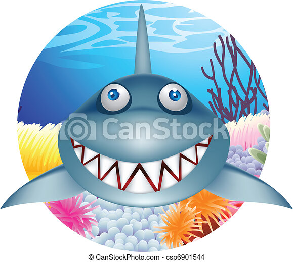 Shark cartoon character - csp6901544
