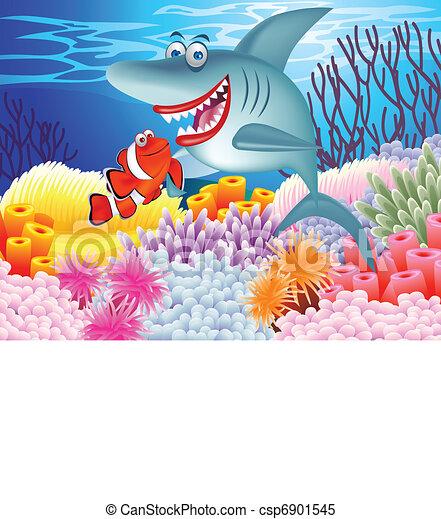 Clown fish and shark - csp6901545