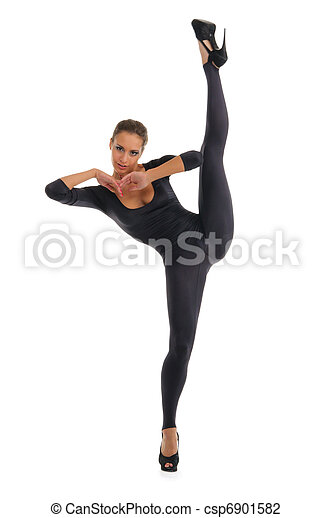 Young woman doing splits vertical - csp6901582
