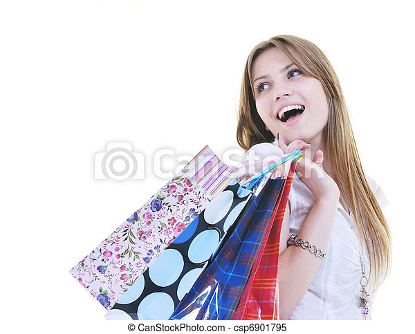 happy young adult women  shopping with colored bags - csp6901795
