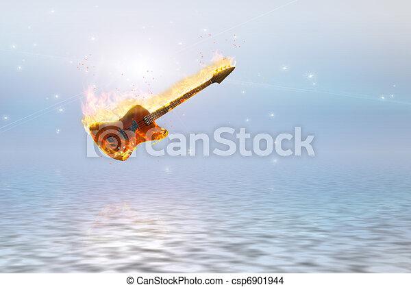 Burning bass guitar over clean pure ocean - csp6901944