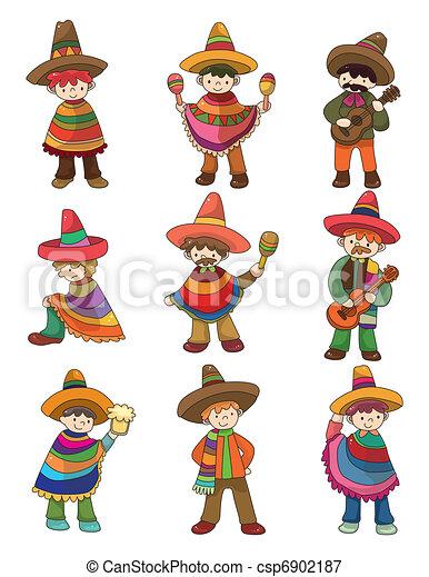cartoon Mexican people icon set  - csp6902187