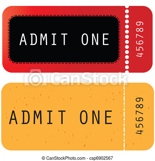 red - yellow ticket - admit one - csp6902567