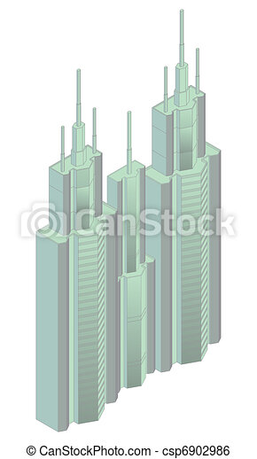 isometric projection of a building - csp6902986