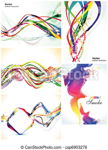 abstract colorful multiple wave set - csp6903276