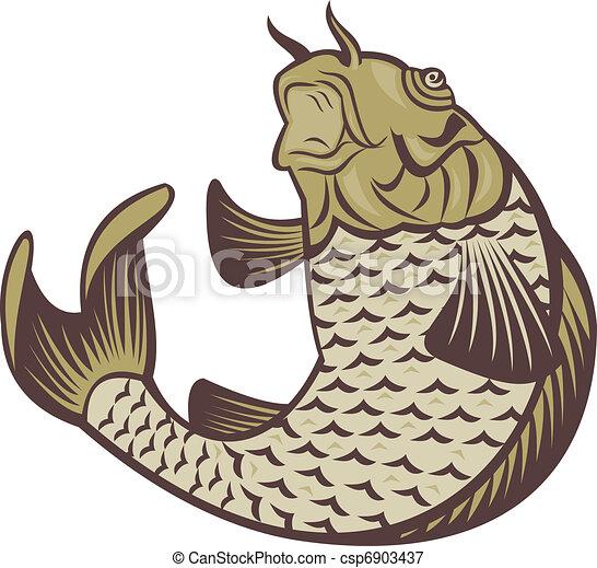 Illustrations de koi carpe sauter haut illustration for Carpe koi en ligne