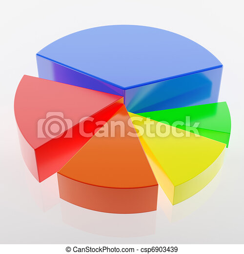 圖表, 3d, 圖表, 鮮艷, 餅 - csp6903439