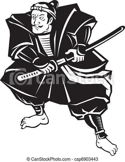 Samurai warrior with katana sword fighting stance - csp6903443