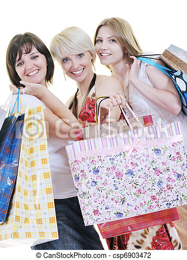 happy young adult women  shopping with colored bags - csp6903472