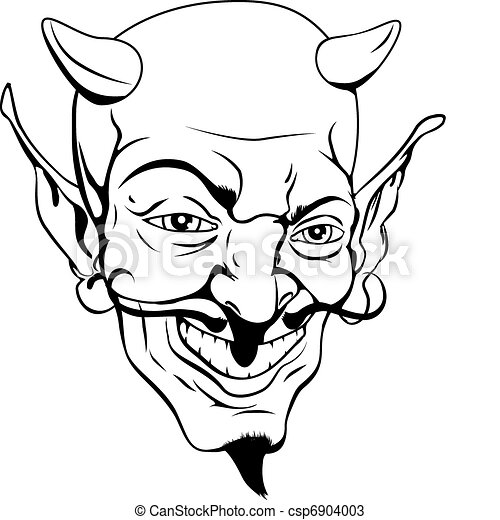 Monochrome devil face - csp6904003