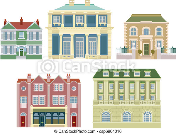 Luxury old fashioned houses buildings - csp6904016