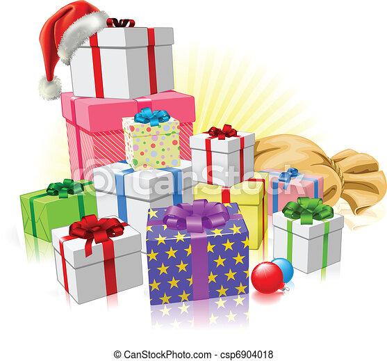Christmas gifts Santa concept - csp6904018