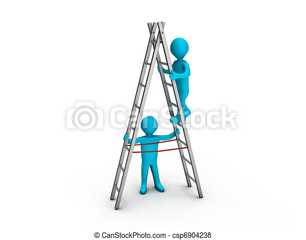 Man climbing ladder and another helping him - csp6904238