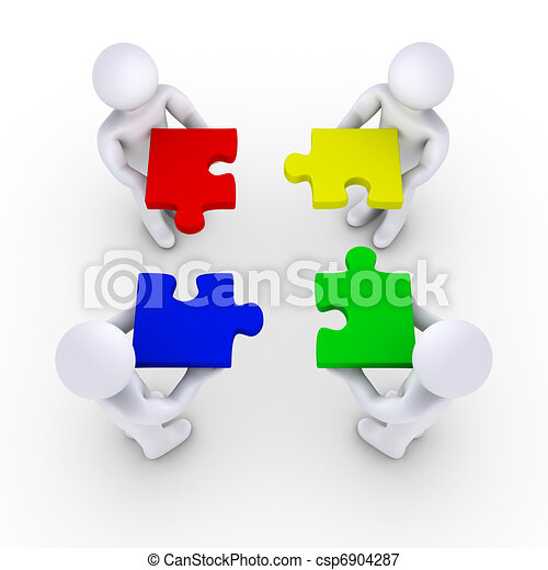 Four people holding puzzle pieces - csp6904287