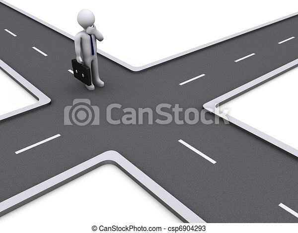 3d Businessman deciding the right way - csp6904293