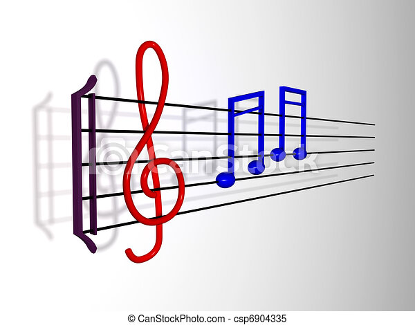 Music Notes on a Stave - csp6904335