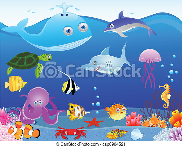 Sea life cartoon background - csp6904521