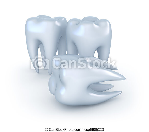 Teeth on white background. 3D image - csp6905330
