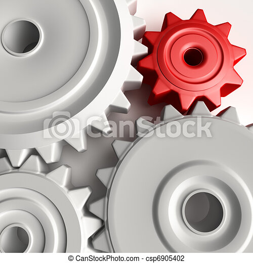Abstract 3D concept of gear wheels - csp6905402