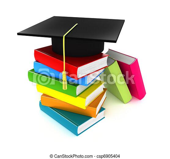 Colorful books and graduation cap - csp6905404