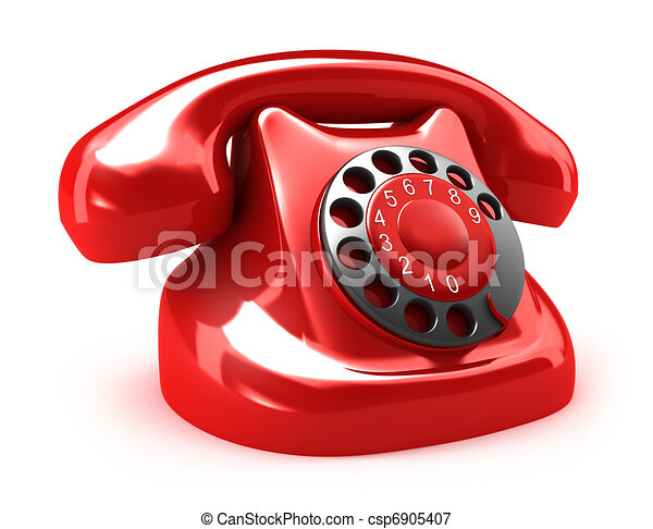 Red retro telephone - csp6905407