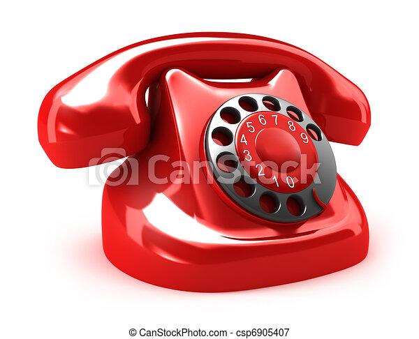Red retro telephone - csp6905407
