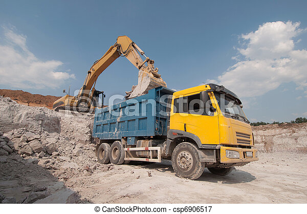 loading a large lorry building material - csp6906517